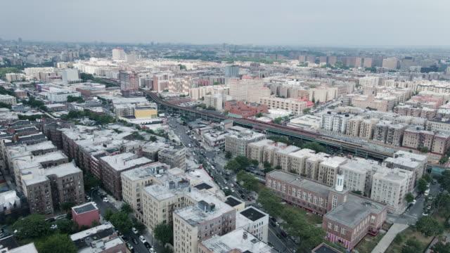 aerial shot of the bronx, new york city - postwar stock videos & royalty-free footage