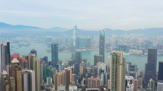 aerial shot of the city. top view of hong kong - top video stock e b–roll
