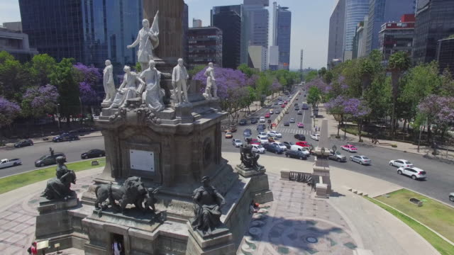 Aerial shot of the column of the Angel de la Independencia in Mexico City