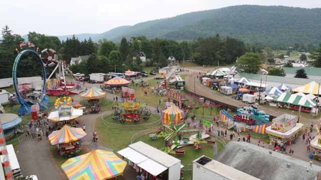 aerial shot of the delaware county fair. - fairground stall stock videos & royalty-free footage