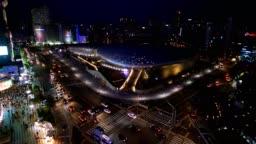 Aerial shot of  the Dongdaemun Park at night, Seoul, South Korea,