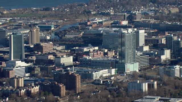 Aerial shot of the downtown area of Stamford, Connecticut.