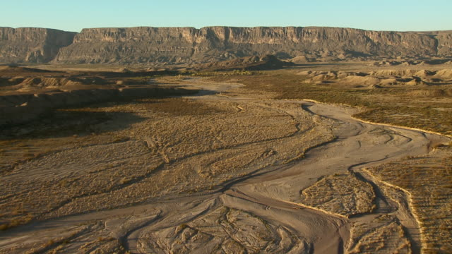 Aerial shot of the dry Terlingua Creek with Santa Elena Canyon, Big Bend National Park.