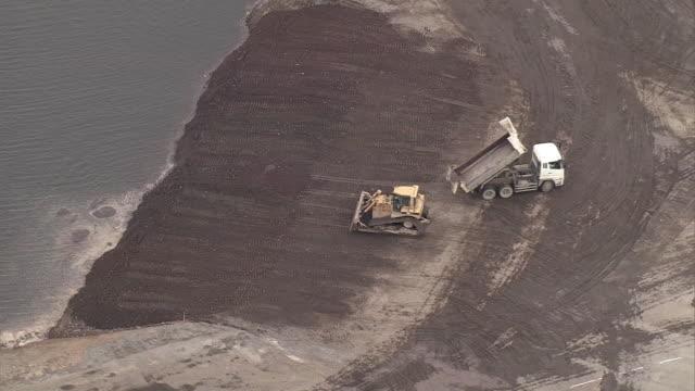 Aerial shot of the garbage landfill off Kobe which is managed by Osaka Bay Regional Office Environmental Improvement Center nicknamed Osaka Bay...