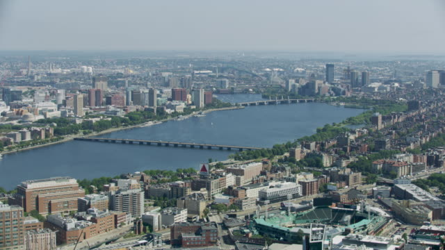 aerial shot of the harvard bridge - back bay stock-videos und b-roll-filmmaterial