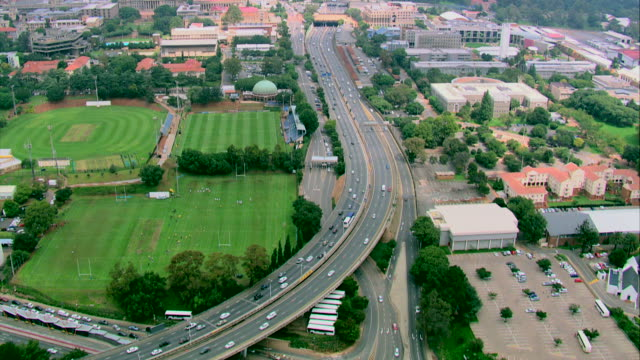 Aerial shot of the highway going into Johannesburg city centre, past Wits University