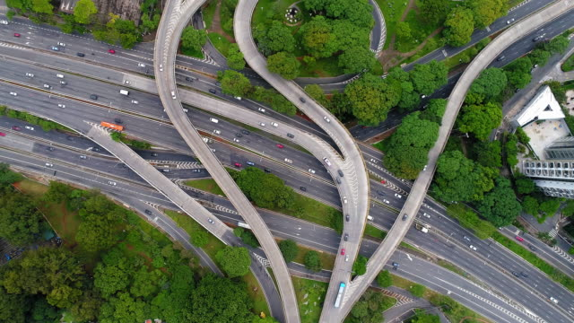 aerial shot of the highways in sao paulo, brazil - avenue stock videos & royalty-free footage