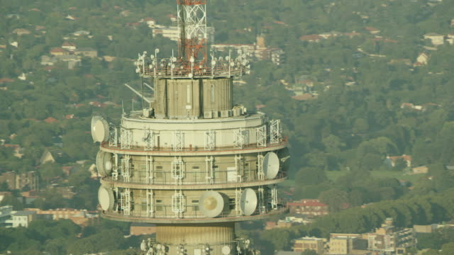 aerial shot of the hillbrow tower - durevolezza video stock e b–roll