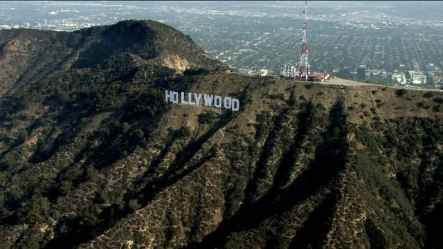 aerial shot of the hollywood sign on july 23, 2013 in hollywood, california - hollywood california stock videos & royalty-free footage