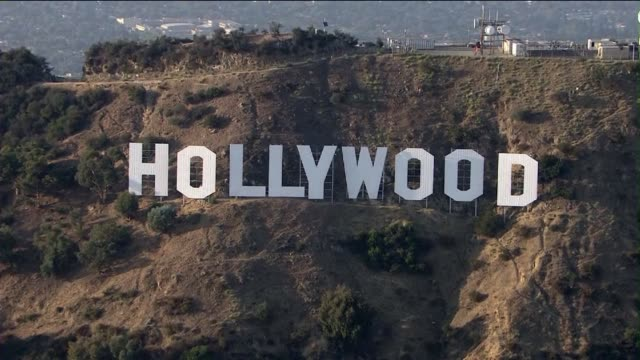 aerial shot of the hollywood sign on september 10, 2013 in hollywood, california - hollywood sign stock videos & royalty-free footage