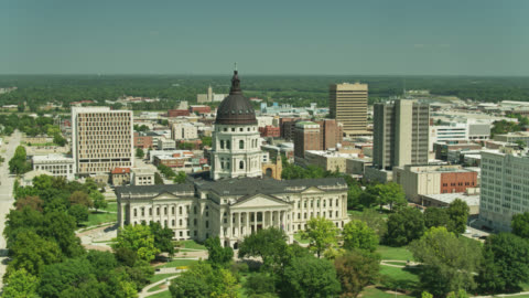 aerial shot of the kansas state capitol - state capitol building stock videos & royalty-free footage