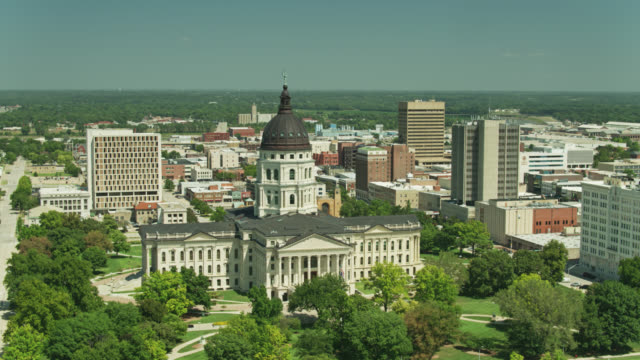 aerial shot of the kansas state capitol - kansas stock videos & royalty-free footage