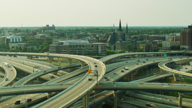 aerial shot of the marquette freeway interchange in milwaukee - elevated road stock videos & royalty-free footage