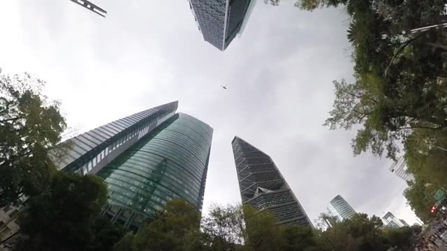Aerial shot of the modern skyline and skyscrapers of Mexico City