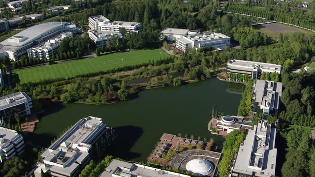 aerial shot of the nike world headquarters in beaverton - headquarters stock videos & royalty-free footage
