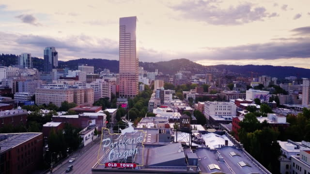 aerial shot of the old town of portland, oregon - portland oregon old town stock videos & royalty-free footage