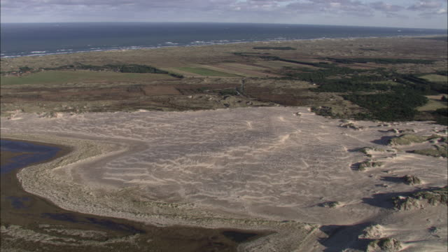Aerial shot of the Rabjerg Mile sand dunes near the town of Skagen in Denmark.