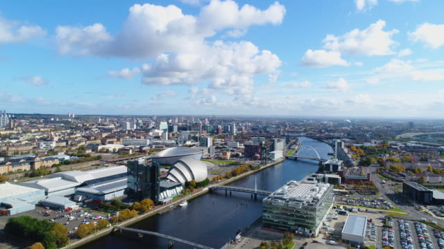 aerial shot of the river clyde and glasgow city - glasgow stock videos & royalty-free footage