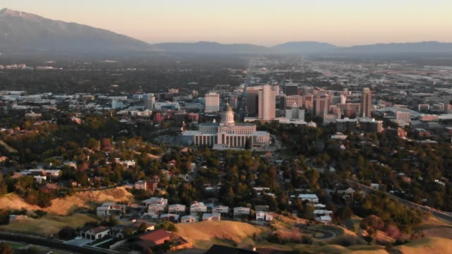 aerial shot of the salt lake city capital building - mormonism stock videos & royalty-free footage