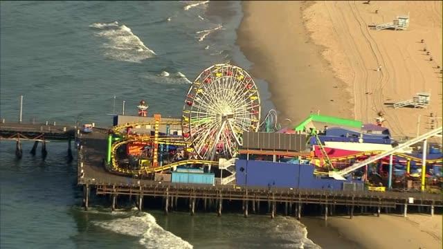 aerial shot of the santa monica pier - santa monica pier stock videos & royalty-free footage