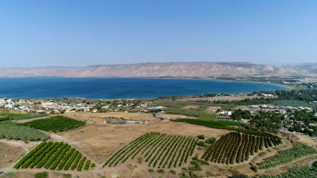 Aerial shot of the Sea of Galilee
