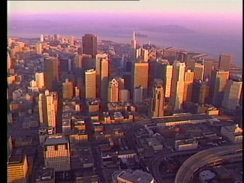 aerial shot of the skyline of san francisco - aerial or drone pov or scenics or nature or cityscape stock-videos und b-roll-filmmaterial