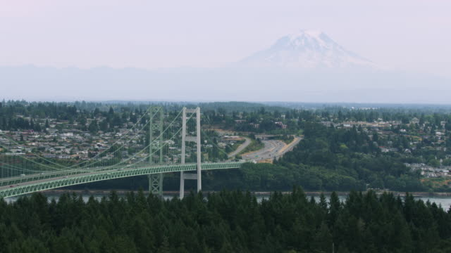 aerial shot of the tacoma narrows bridge with mount rainier in the background - pacifico occidentale video stock e b–roll