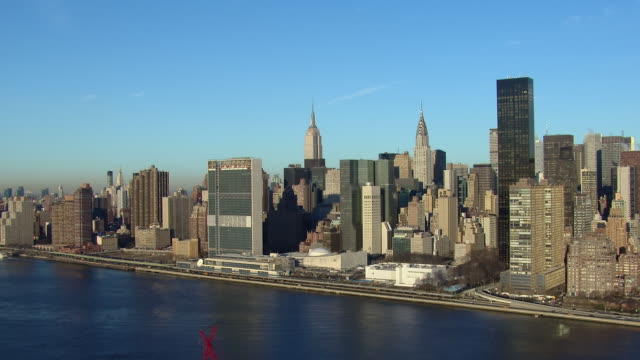 Aerial shot of the United Nations Headquarters in Manhattan, New York City, New York, USA.