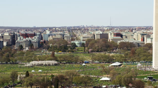 Aerial shot of the Washington Monument and White House, daytime DC