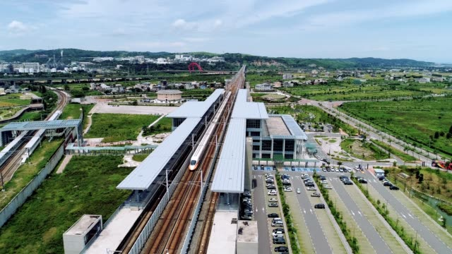 Aerial shot of THSR Miaoli Station is a station of the Taiwan High Speed Rail located in Houlong Township, Miaoli County, Taiwan.