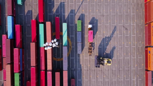 Aerial Shot of Top Handler in Shipping Container Terminal