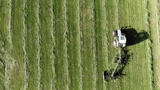 Aerial shot of tractor harvesting hay on farm