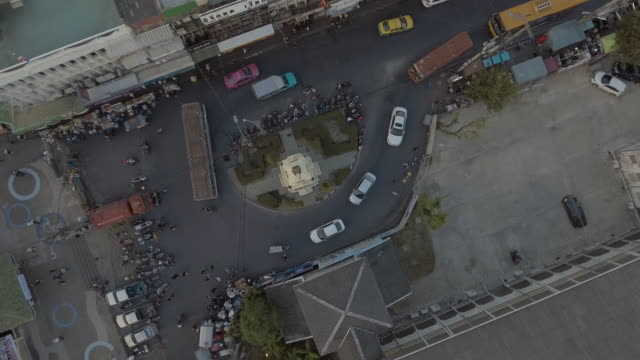 aerial shot of traffic circle overhead shot
