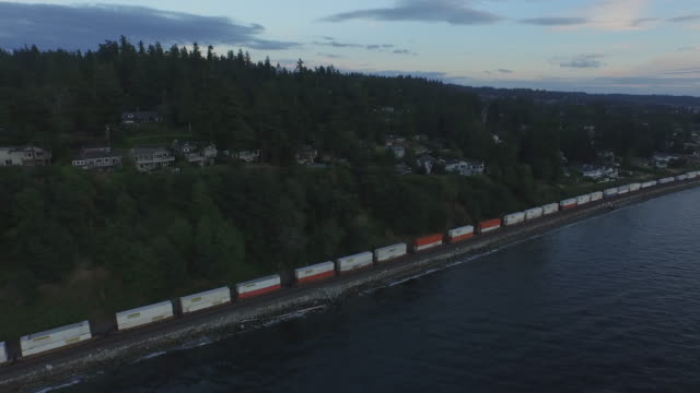 Aerial Shot of Train on Waterfront