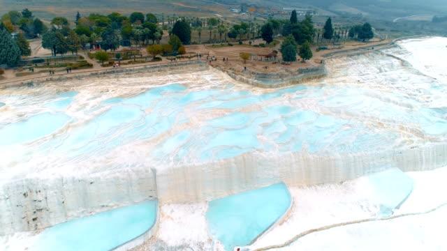 aerial shot of travertine pools of pamukkale in denizli, turkey - standing water stock videos & royalty-free footage