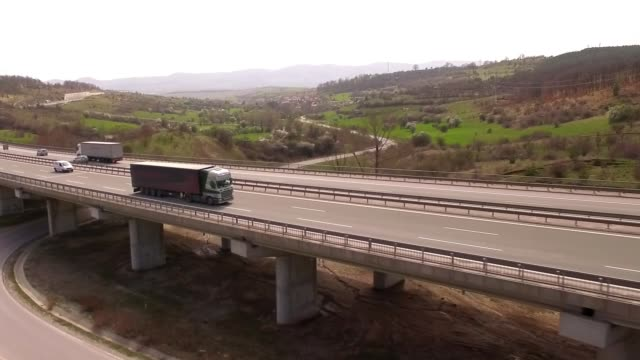 aerial shot of truck - haulage stock videos & royalty-free footage