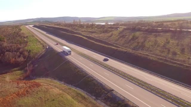 aerial shot of trucks - bulgaria stock videos & royalty-free footage