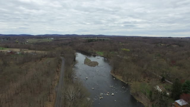 aerial shot of upstate new york landscape, with river in center of frame - new paltz stock videos and b-roll footage