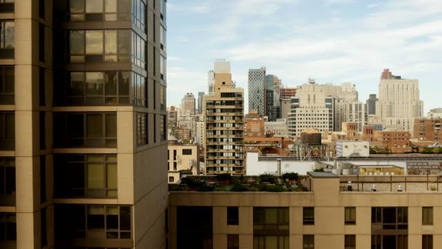 aerial shot of urban city skyline. metropolis cityscape view background