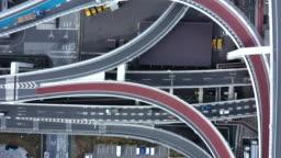 Aerial shot of urban road