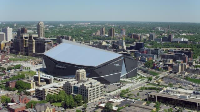 Aerial Shot Of US Bank Stadium In Minneapolis