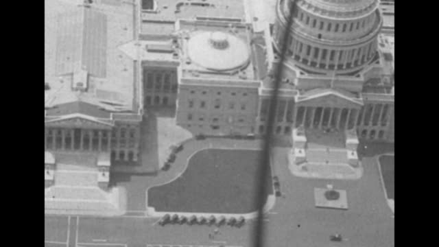 aerial shot of us capitol with strut of plane in fg / note exact year not known - capitol hill stock videos & royalty-free footage