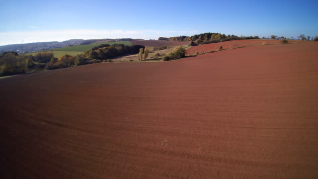aerial shot of vast ploughed fields and fall trees in rolling forested landscape - plowed field stock videos and b-roll footage