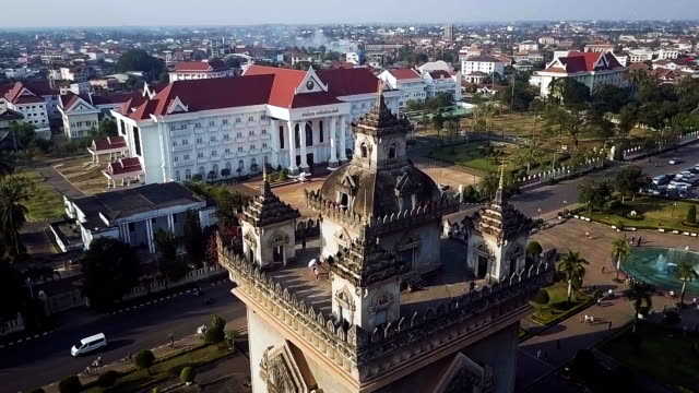 Aerial shot of Victory Gate Patuxai, Vientiane, Laos, Southeast Asia. Concept: Travel, journey.