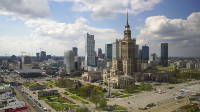 aerial shot of  warsaw city skyline in poland - warsaw stock videos & royalty-free footage
