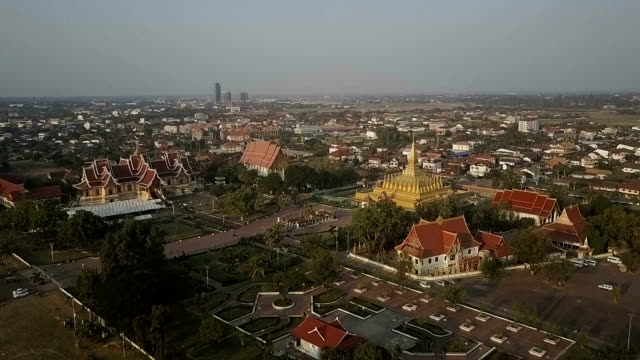 Aerial shot of Wat Phra That Luang , Vientiane, Laos. Concept: Travel, journey.