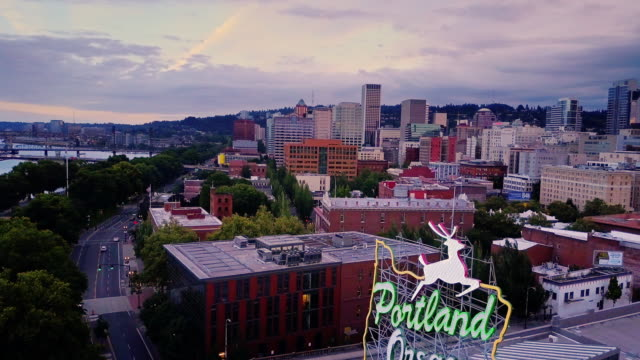 aerial shot of waterfront of old town portland - portland oregon stock videos & royalty-free footage