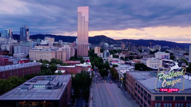 aerial shot of waterfront of old town portland - portland oregon old town stock videos & royalty-free footage