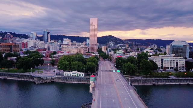 aerial shot of waterfront of portland, oregon at dusk - portland oregon stock videos & royalty-free footage
