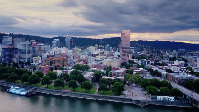 aerial shot of waterfront of portland, oregon - portland oregon street stock videos & royalty-free footage